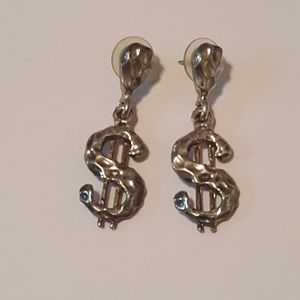Dangling dollar sign earrings